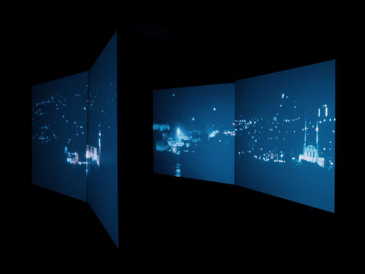 "Downward Straits (2004). Four channel PAL video, four channel sound. Approximately 3' video, and 13' 25"" audio, continuous loop. Installation views Beck's Futures 2004, ICA, London © Ergin Çavuşoğlu"
