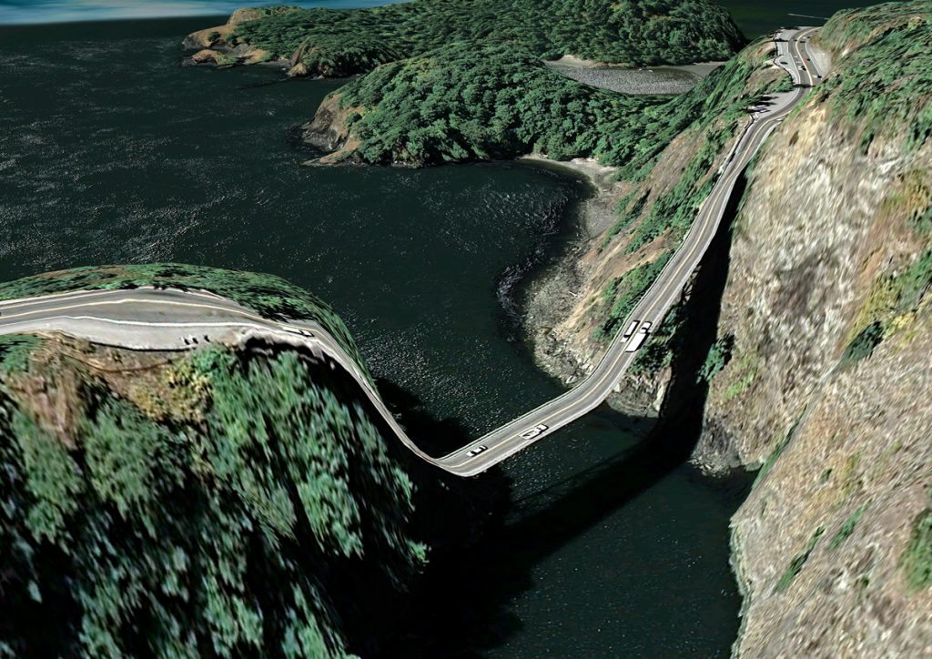 Clement Valla, Deception Pass, Washington, USA, Postcards from Google Earth, 2013.